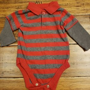 5/$20 red striped onsie 3/6m